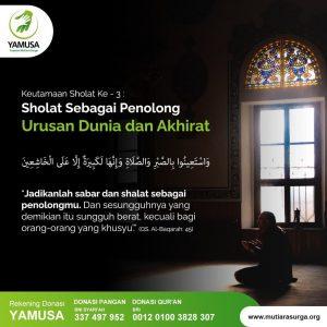 Shalat sebagai penolong manusia terkait urusan agama dan dunia